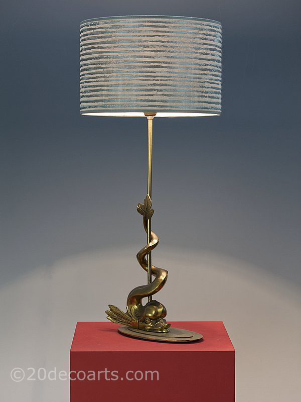 Hollywood Regency Bronze Dolphin Table Lamp 1950s