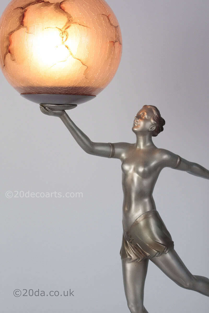 Art Deco Spelter Figure Lamp - Germany 1930s