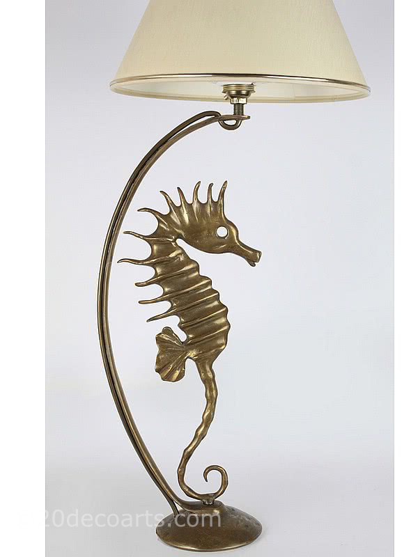 20th Century Decorative Arts |Bronze Seahorse Table Lamp France 1950s
