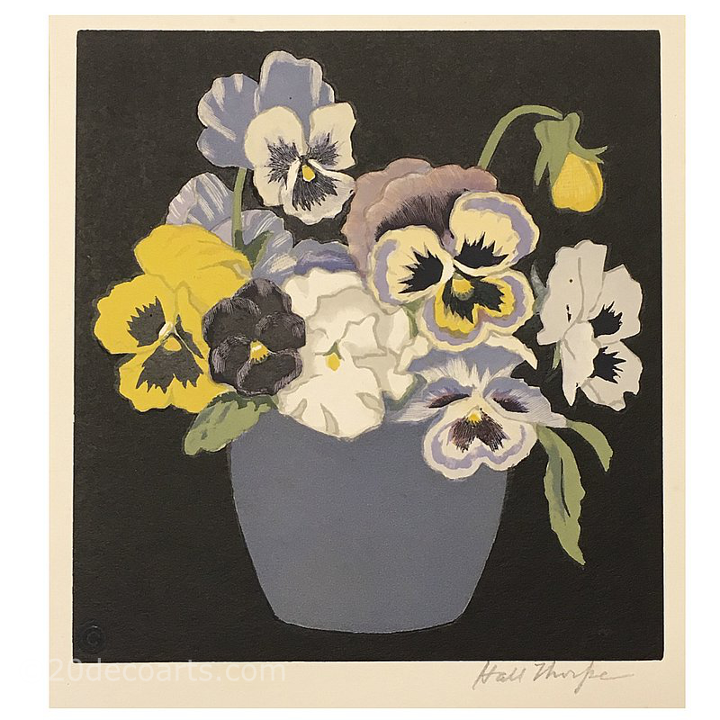 John Hall Thorpe 1874 – 1947 Pansies, a coloured woodblock print Published in London c1920