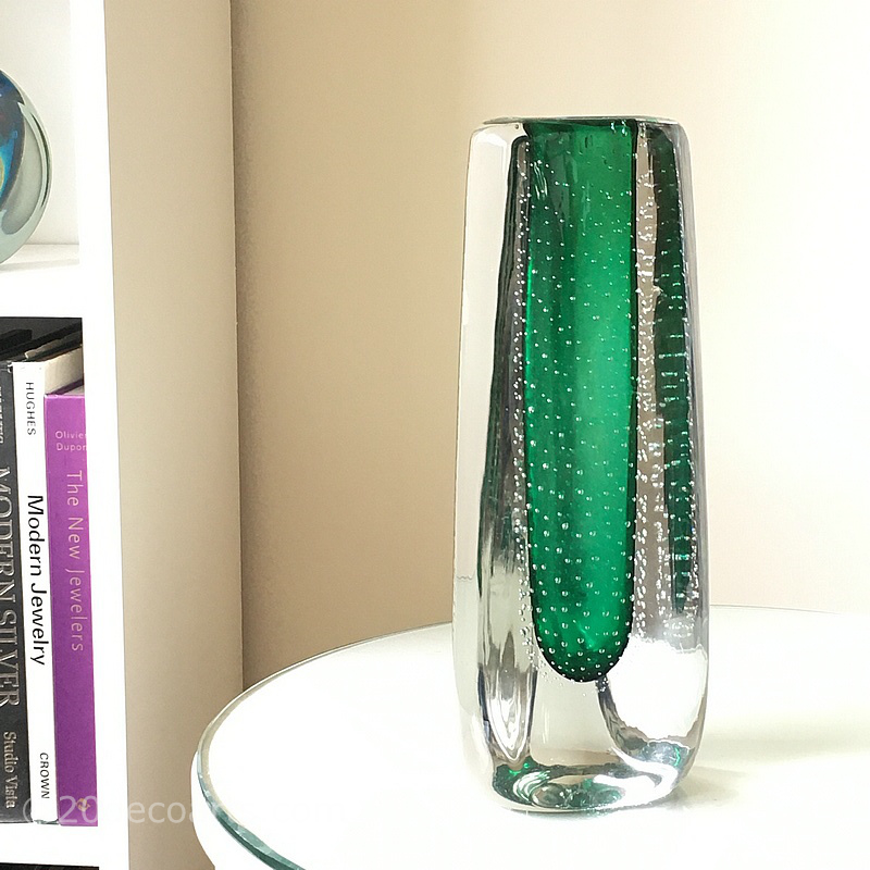 Theresienthal Glaswerks Massive Green Controlled Bubble Glass Vase c1970's - The green glass encased in clear glass