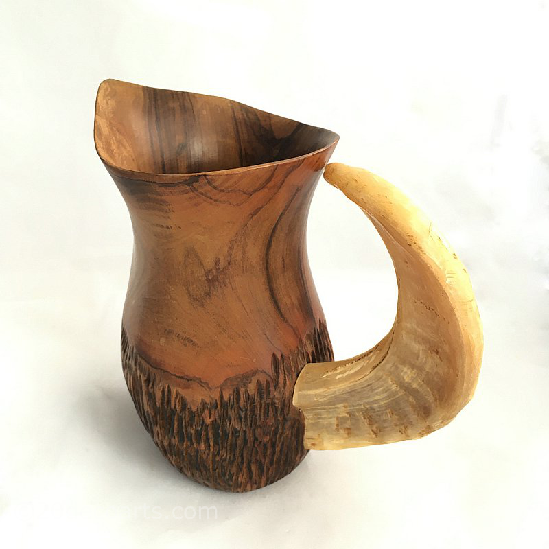 Olive wood jug with rams horn handle by A. Fernandez.               Spain c1950s