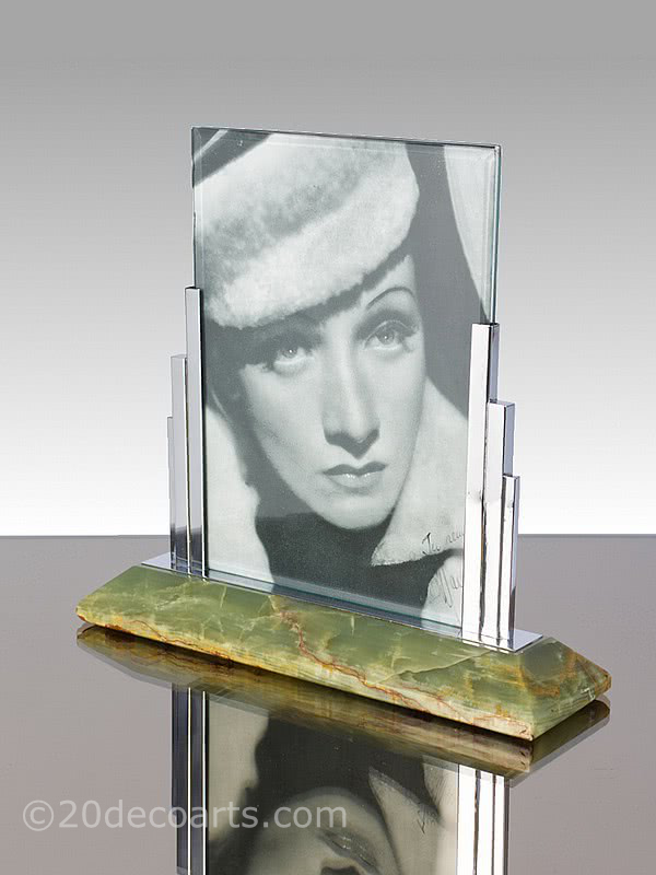 Art Deco photo-frame, the chromed metal mounted on green Brazilian onyx, Germany circa 1930s.