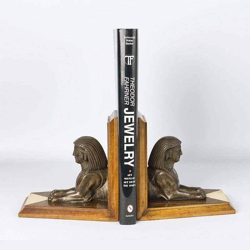 20th Century Decorative Arts | Art Deco Egyptian Sphinx Bookends 1925