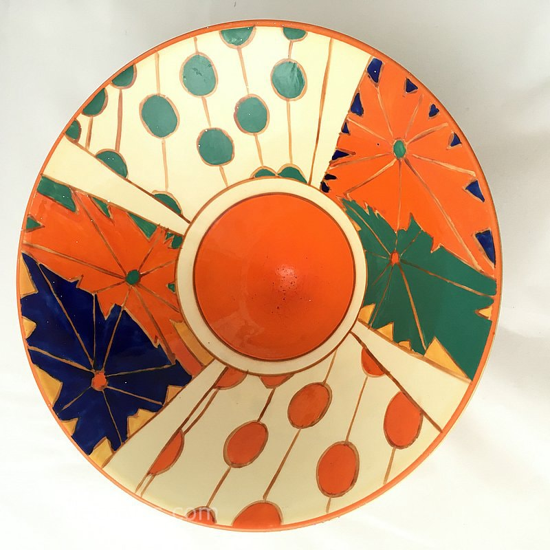 Clarice Cliff Design Conical Bowl in the Umbrellas and Rain pattern, made in a limited edition by Midwinter c 1985