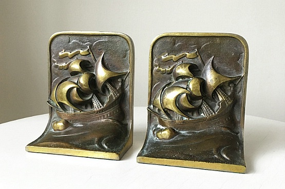☑️ art deco bronze bookends
