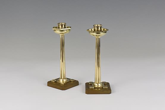 ☑️ jugendstil brass candlesticks pair art nouveau