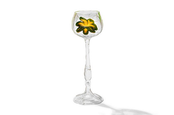☑️ Moser Glassworks - an art nouveau Hot Pad stemmed drinking glass, Bohemia early 20th Century.