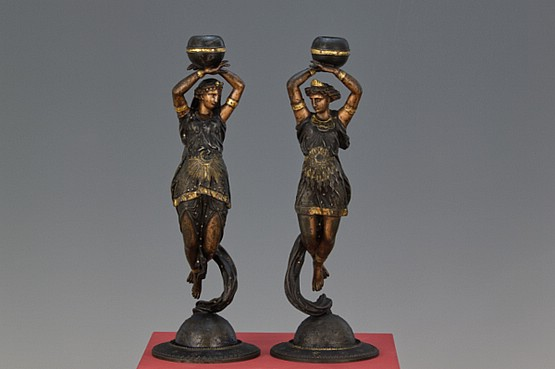 ☑️ pair french cold-painted spelter figural candlesticks