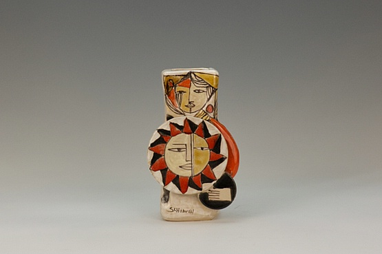 ☑️ 20th Century Decorative Arts |An Elio Schiavon hi-glaze figurative sculptural ceramic vase, Italy circa 1960. the body decorated in bright enamels and applied discs.