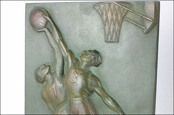 ☑️art deco bronze basketball plaque