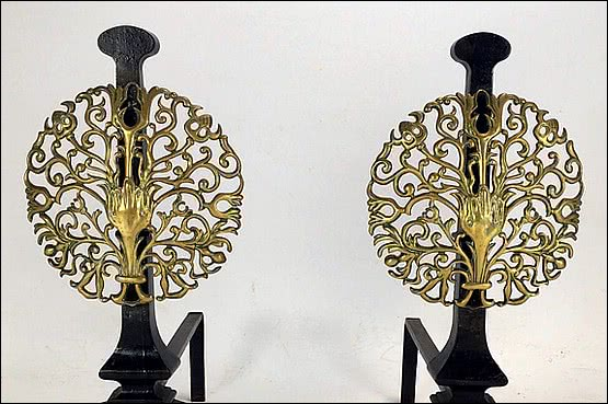 ☑️A Pair of Iron and Brass Andirons attributed to The Artificers Guild