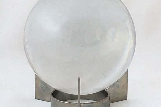 ☑️ 20th Century Decorative Arts |Baccarat Glass Sirius Crystal Ball on a Three Arm Nickel Plated Stand