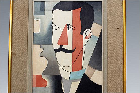 ☑️A cubist portrait, France first quarter 20th C. oil on board, in it's original frame