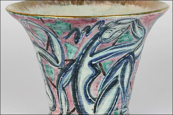 ☑️An Art Deco hand turned pottery vase decorated in the                      fauvist style