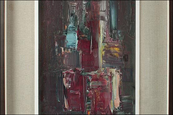 ☑️ 20th Century Decorative Arts |An abstract oil painting, Italy c1960. signed Mugniani, in its original frame.