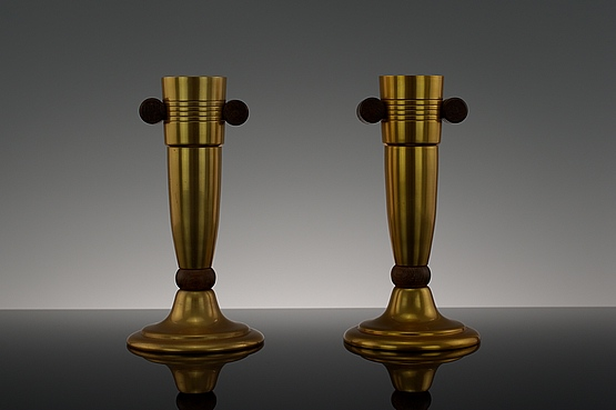 ☑️ 20th Century Decorative Arts |pair gilded aluminium art deco vases