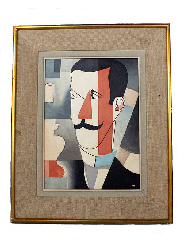 20th Century Decorative Arts |A cubist portrait, France first quarter 20th C. signed MP oil on board, in it's original frame