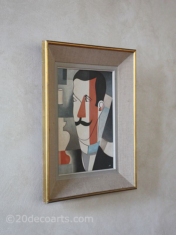 A cubist portrait, France first quarter 20th C. signed MP oil on board, in it's original frame