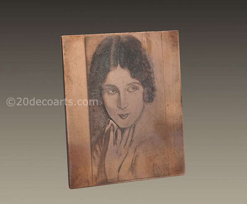 20th Century Decorative Arts |A finely engraved copper printing plate, France 1930s featuring a fashionable young woman.