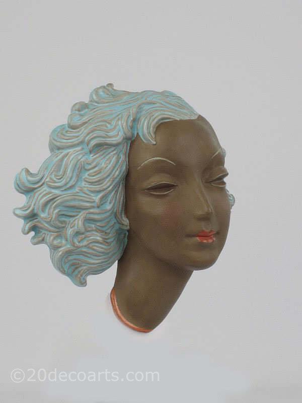 20th Century Decorative Arts |Goldscheider art deco wall mask