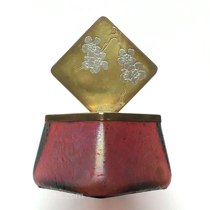 "20th Century Decorative Arts |Art Nouveau Kralik ""Pink Oil Spot"" iridescent glass inkwell"