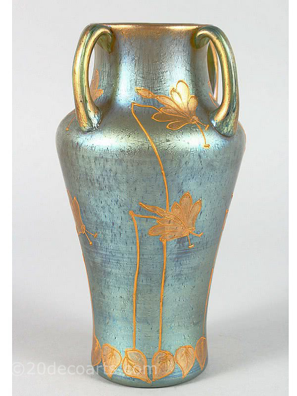 20th Century Decorative Arts |Loetz Glass Vase in Mercur / Merkur decor with enamelled and gilded applied Art Nouveau