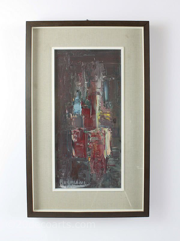 An abstract oil painting, Italy c1960. signed Mugniani, in it's original frame.
