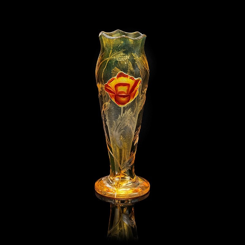 Moser glassworks - a Hot Pad cameo glass vase, Bohemia early 20th Century.