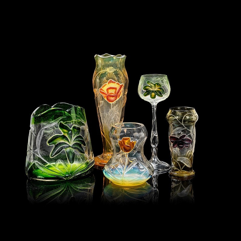 Moser glassworks - a Hot Pad  cameo cameo stemmed drinking glass Bohemia early 20th Century.