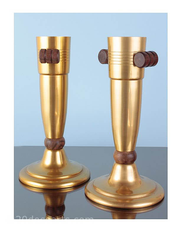 A pair of stylish Art Deco gilded aluminium and palisander wood vases, France, 1930s.