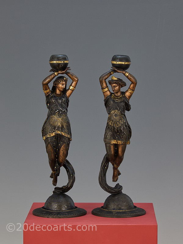 a pair of french cold-painted figural candlesticks late 19th century