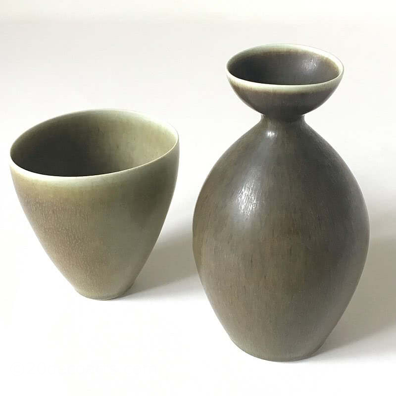 20th Century Decorative Arts | Per Linnemann Schmidt Hares Fur glaze vases for Palshus Denmark  c1960
