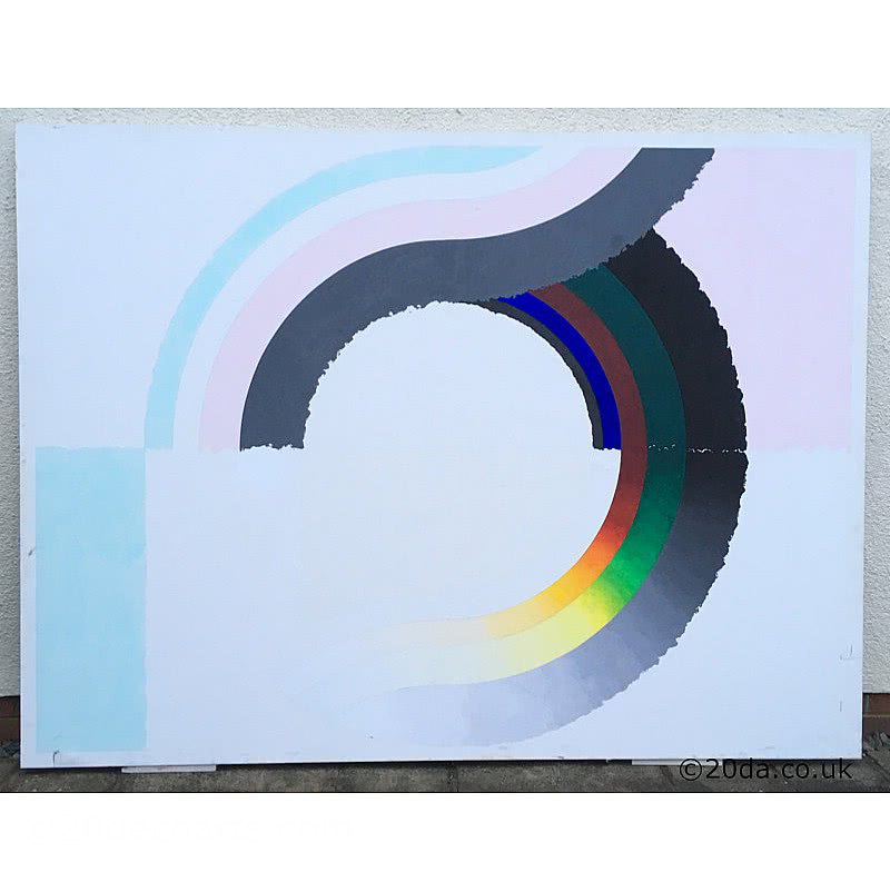 20th Century Decorative Arts |Ron Nixon Large abstract painting on canvas c1978