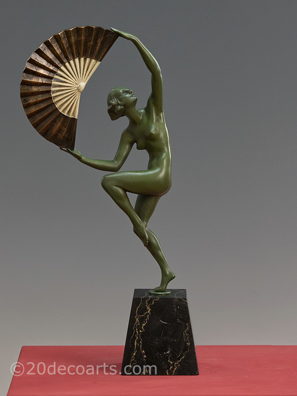 Marcel-Andre Bouraine - Fan Dancer and Art Deco bronze sculpture France
