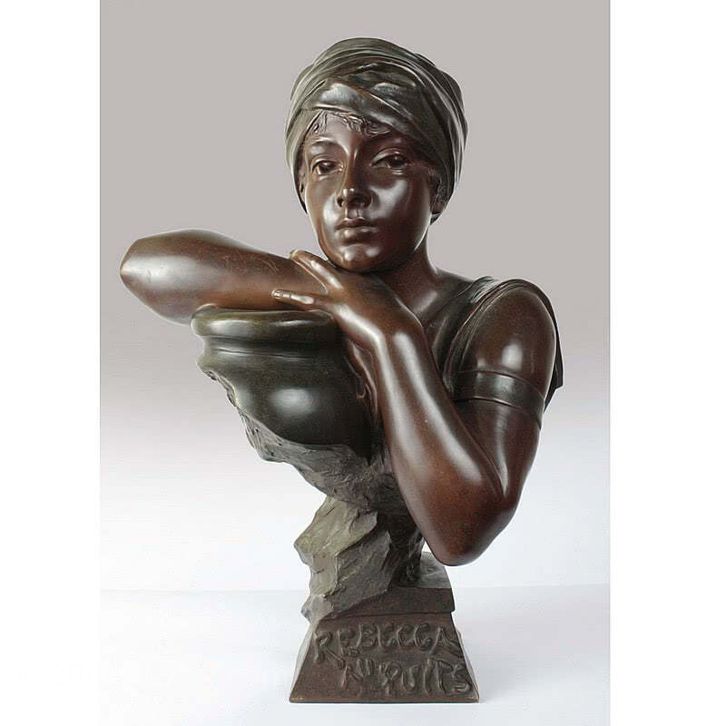 "20th Century Decorative Arts | Art Nouveau French bronze bust by Emmanuel Villanis titled ""Rebecca au Puits"" circa 1900"