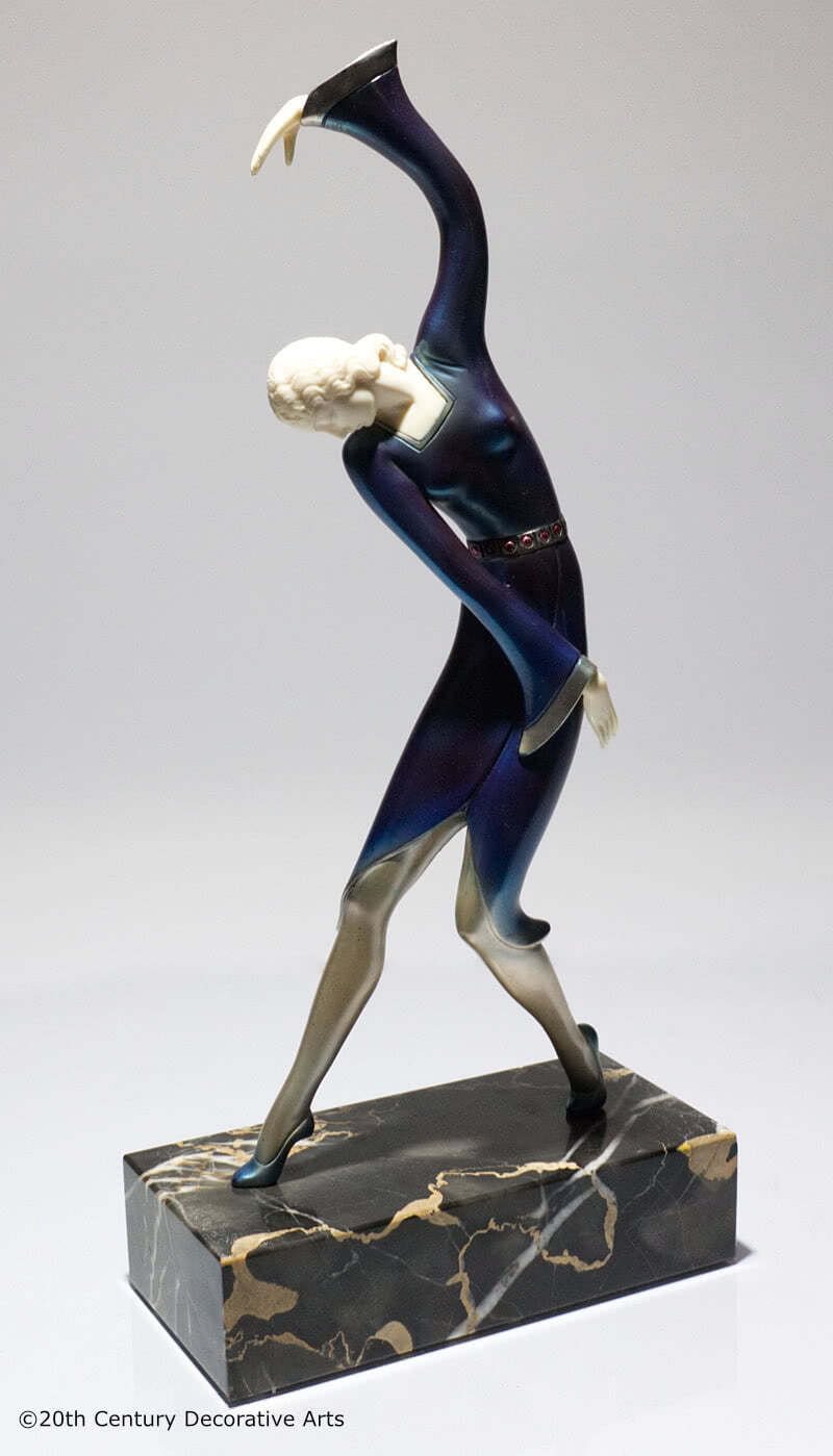 Art Deco figure, pewter and ivory germany 1920s hans harders photo 1