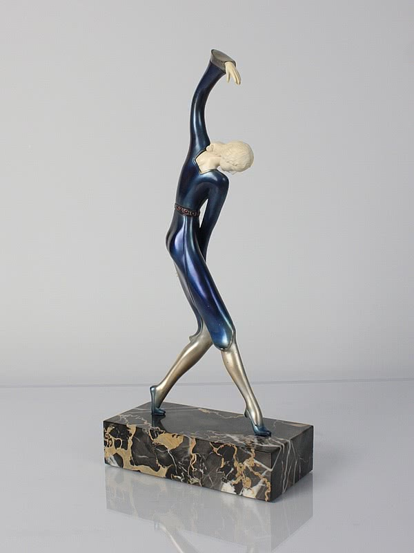 Art Deco figure, pewter and ivory germany 1920s hans harders photo 3