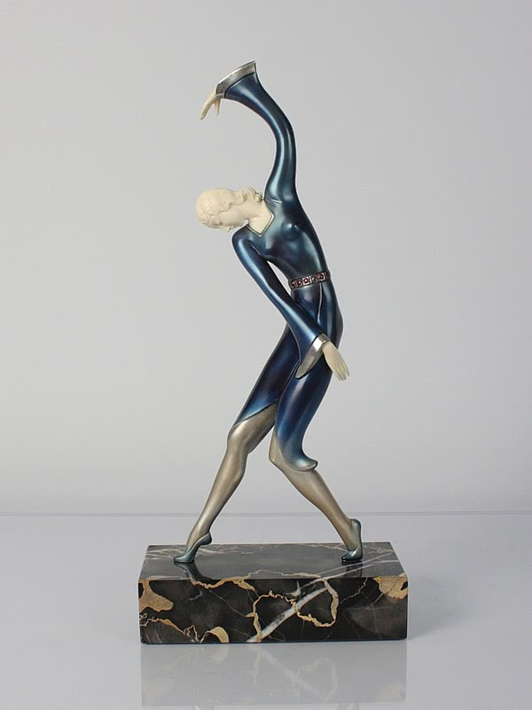 Art Deco statue, pewter and ivory germany 1920s, 1930s hans harders photo 2