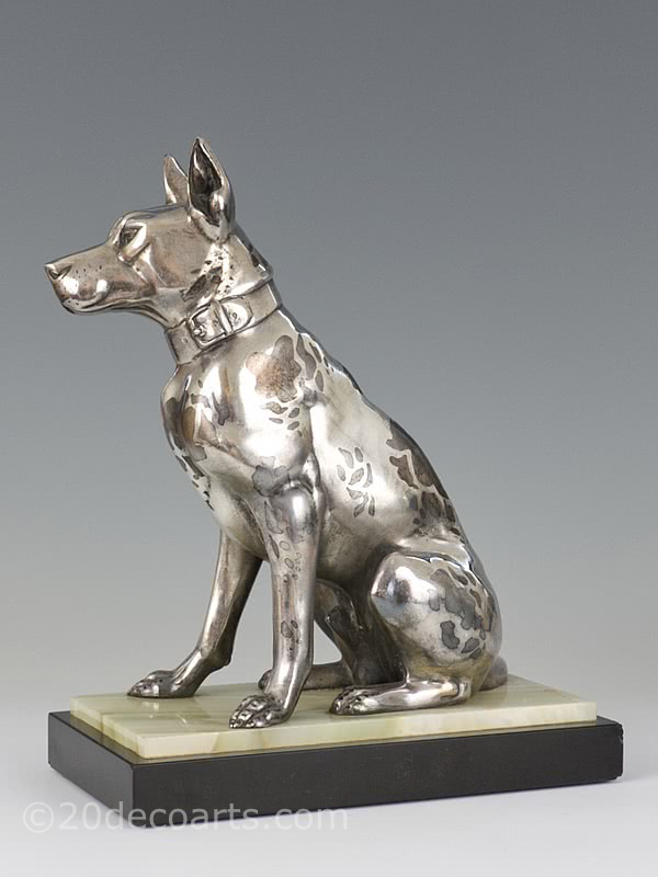 20th Century Decorative Arts |Art Deco Harlequin Great Dane sculpture, Irenee Rochard