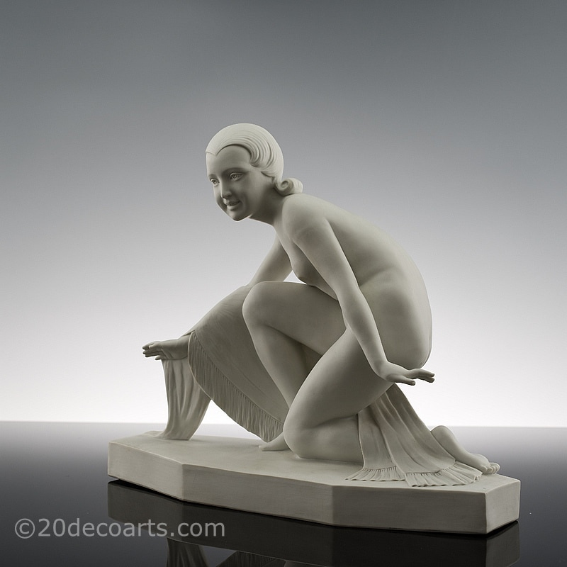 Art Deco parian porcelain figure by Bohumil Rezl France circa 1930