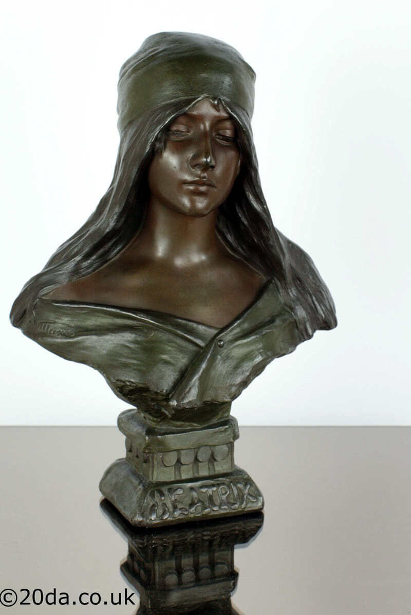 20th Century Decorative Arts | A large and stunning art nouveau French spelter bust by Emmanuel Villanis