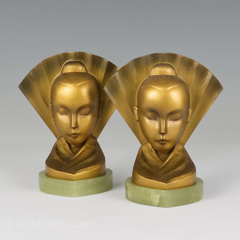 art deco bronze bookends austria 1925