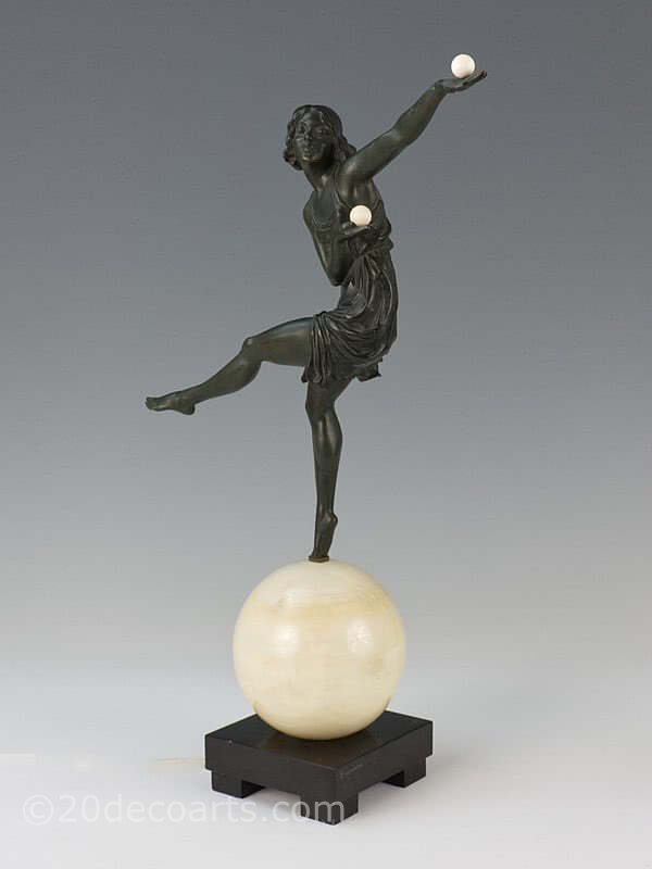 20th Century Decorative Arts |Marcel-Andre Bouraine - Art Deco bronze and ivory figurine.