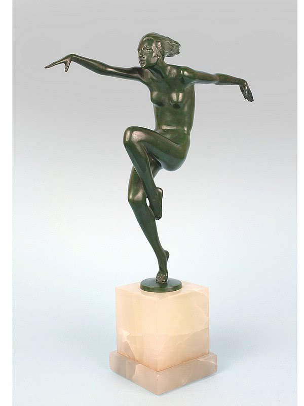 "20th Century Decorative Arts |Josef Lorenzl Art Deco bronze figurine, ""Speed"" Vienna, Austria circa 1930"