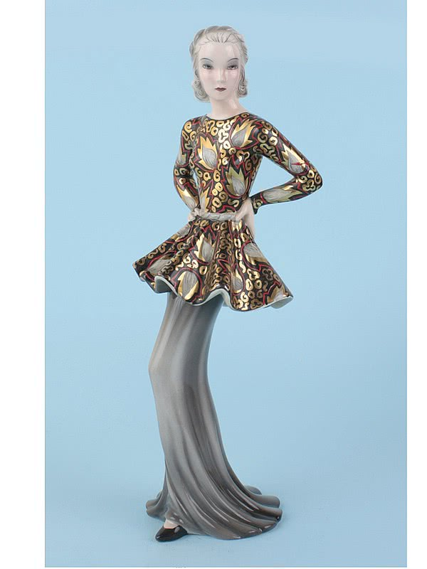 "20th Century Decorative Arts |A beautiful Art Deco ceramic figurine by Claire Weiss for Goldscheider circa 1937, Vienna Austria, titled ""Modedame"" (Fashionable woman) and based on Marlene Dietrich."