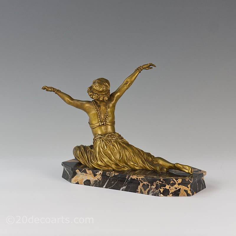 claire colinet theban dancer art deco bronze statue 1925