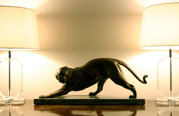 20th Century Decorative Arts: plagnet art deco metal panther