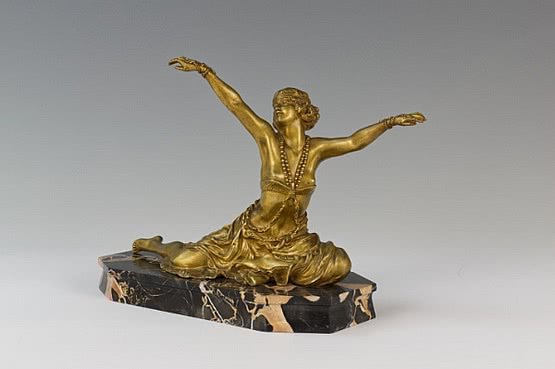 ☑️ colinet theban dancer art deco bronze statue for sale