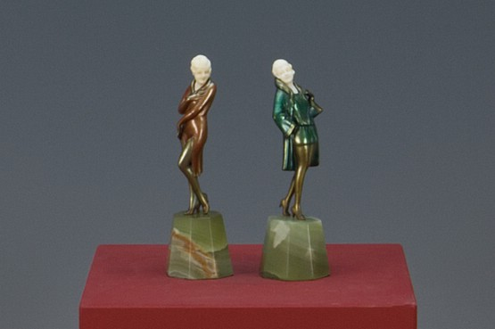 ☑️Josef Lorenzl art deco bronze ivory figures for sale